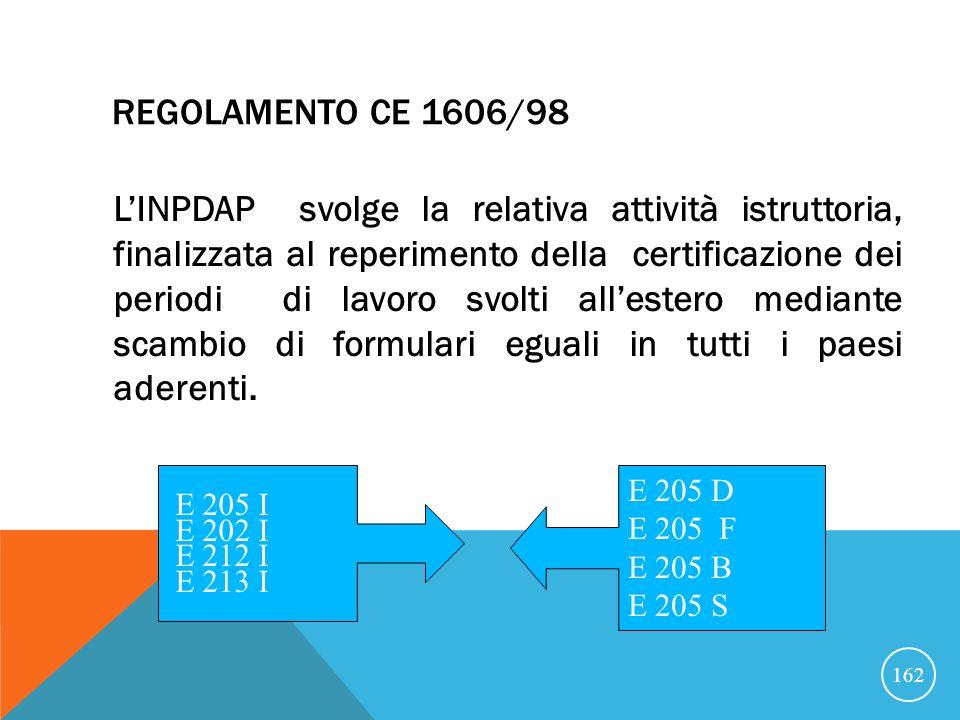 REGOLAMENTO CE 1606/98 LINPDAP svolge la relativa attività istruttoria, finalizzata al reperimento della certificazione dei periodi di lavoro svolti allestero mediante scambio di formulari eguali in tutti i paesi aderenti.