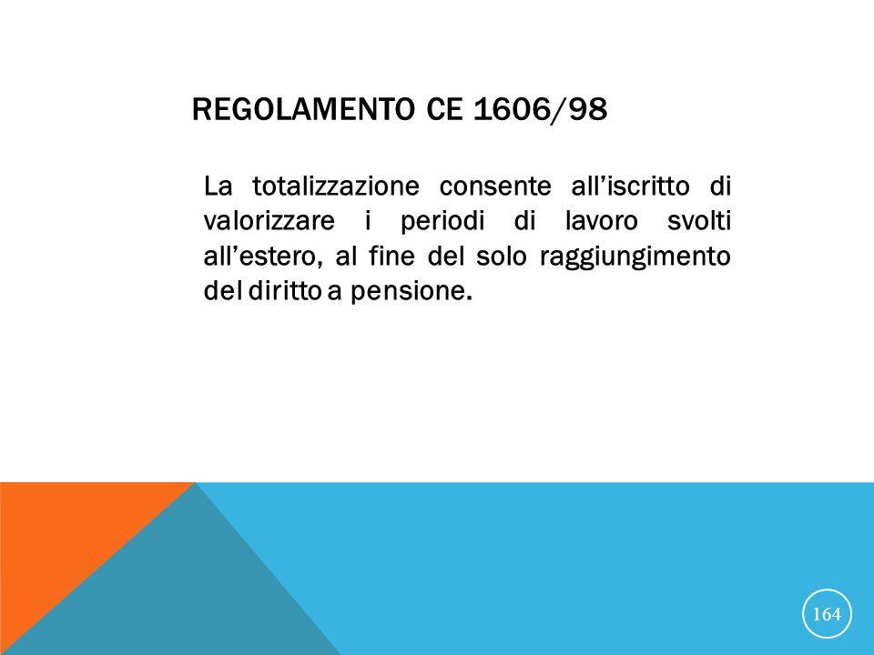 REGOLAMENTO CE 1606/98 La totalizzazione consente alliscritto di valorizzare i periodi di lavoro svolti allestero, al fine del solo raggiungimento del diritto a pensione.