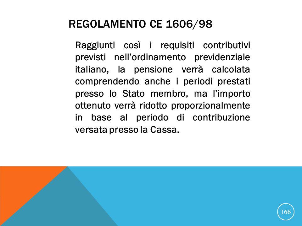 REGOLAMENTO CE 1606/98 Raggiunti così i requisiti contributivi previsti nellordinamento previdenziale italiano, la pensione verrà calcolata comprendendo anche i periodi prestati presso lo Stato membro, ma limporto ottenuto verrà ridotto proporzionalmente in base al periodo di contribuzione versata presso la Cassa.