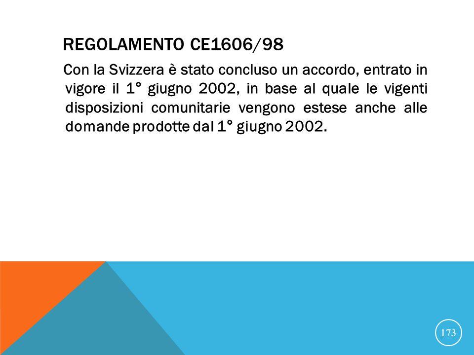 REGOLAMENTO CE1606/98 Con la Svizzera è stato concluso un accordo, entrato in vigore il 1° giugno 2002, in base al quale le vigenti disposizioni comunitarie vengono estese anche alle domande prodotte dal 1° giugno 2002.