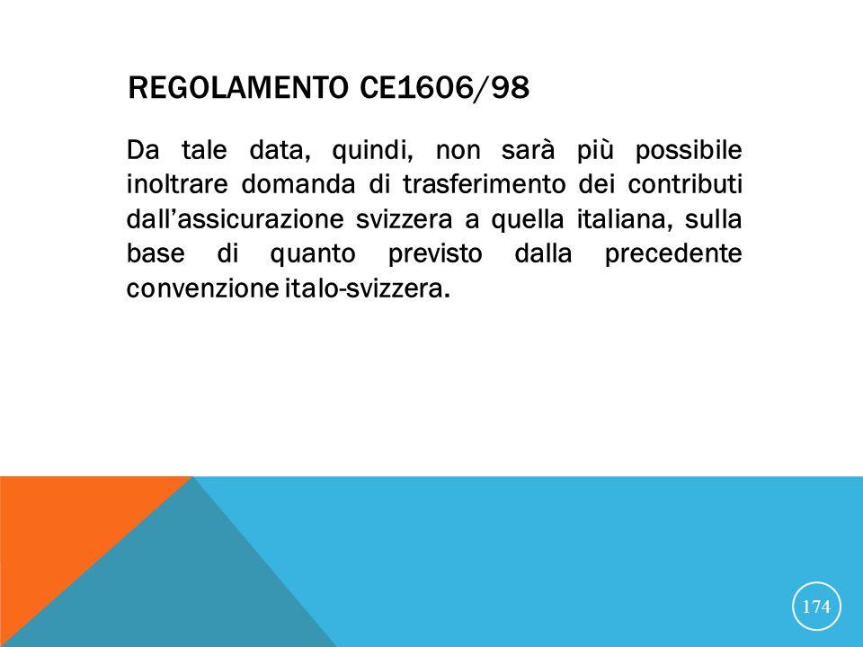 REGOLAMENTO CE1606/98 Da tale data, quindi, non sarà più possibile inoltrare domanda di trasferimento dei contributi dallassicurazione svizzera a quella italiana, sulla base di quanto previsto dalla precedente convenzione italo-svizzera.