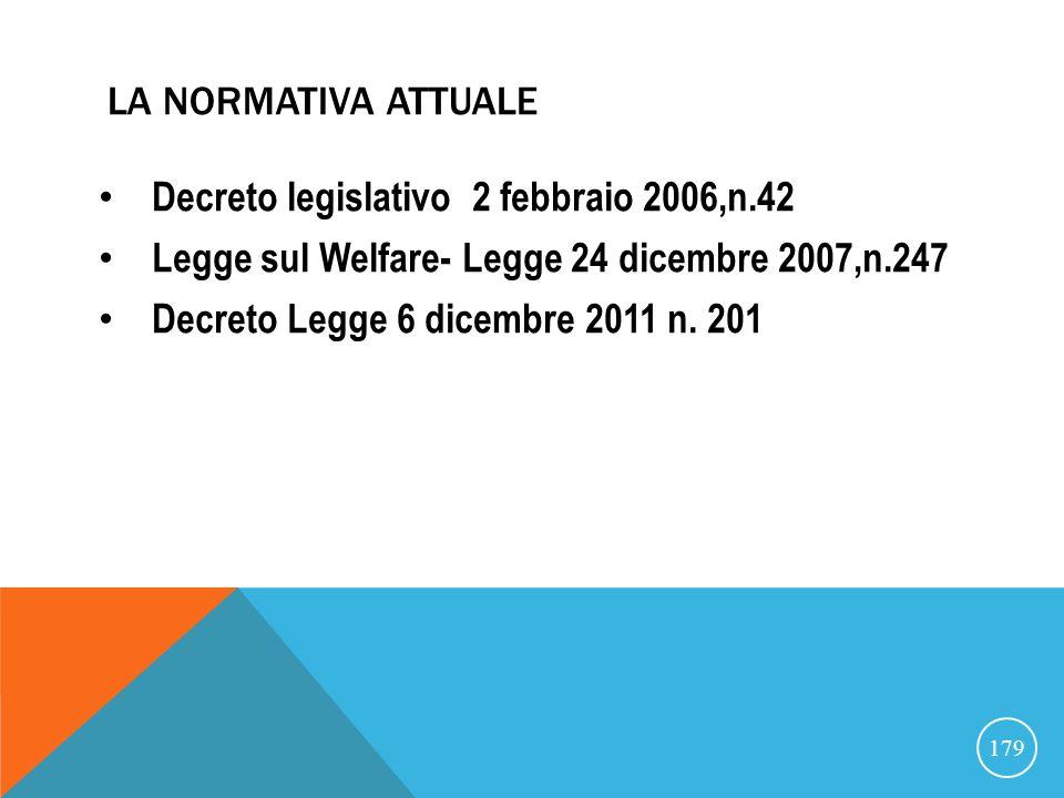 LA NORMATIVA ATTUALE Decreto legislativo 2 febbraio 2006,n.42 Legge sul Welfare- Legge 24 dicembre 2007,n.247 Decreto Legge 6 dicembre 2011 n.
