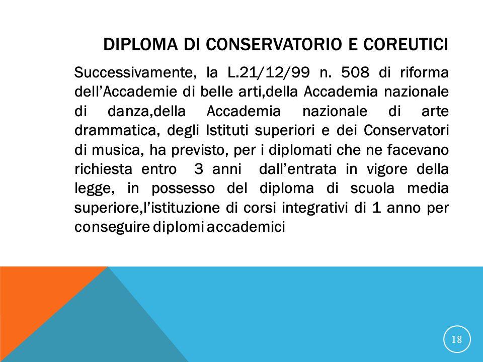 DIPLOMA DI CONSERVATORIO E COREUTICI Successivamente, la L.21/12/99 n.