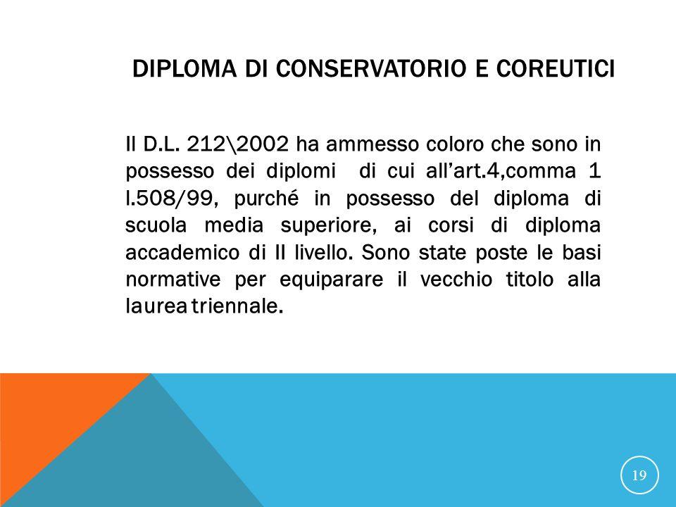 DIPLOMA DI CONSERVATORIO E COREUTICI Il D.L.