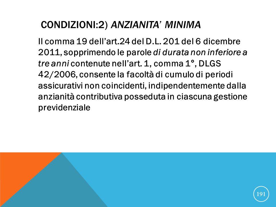 CONDIZIONI:2) ANZIANITA MINIMA Il comma 19 dellart.24 del D.L.