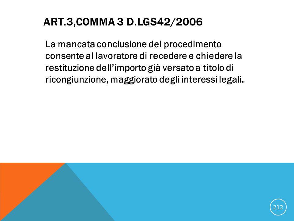ART.3,COMMA 3 D.LGS42/2006 La mancata conclusione del procedimento consente al lavoratore di recedere e chiedere la restituzione dellimporto già versato a titolo di ricongiunzione, maggiorato degli interessi legali.