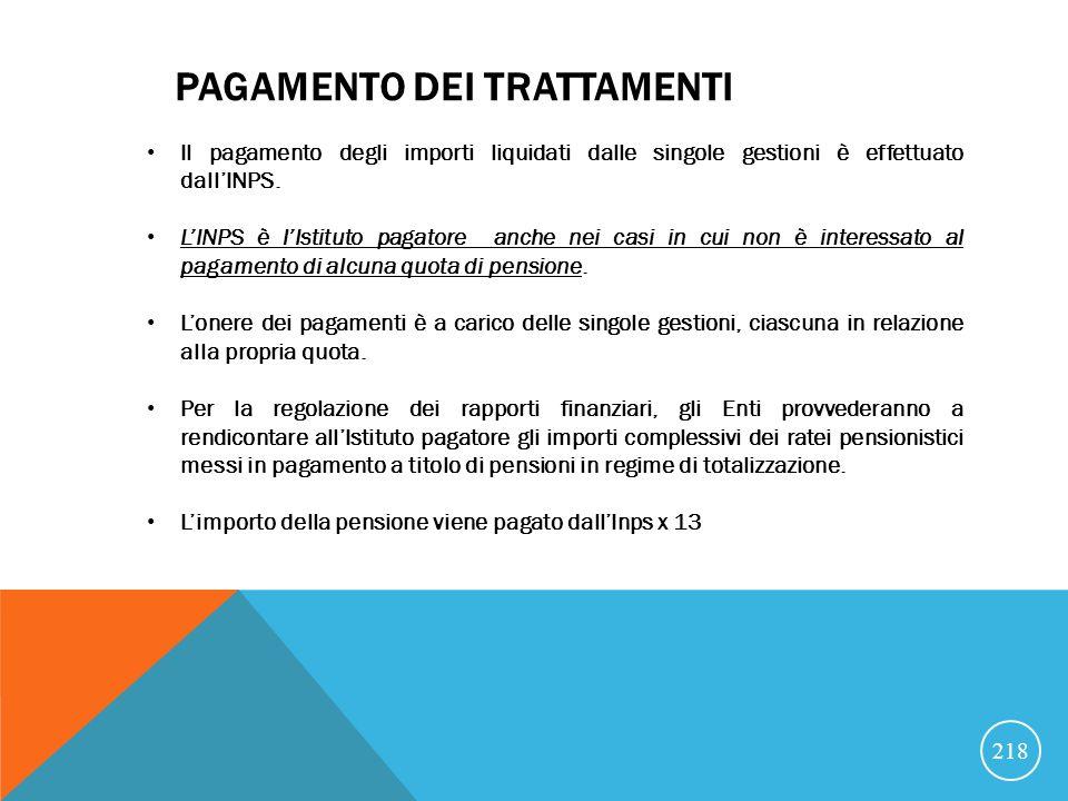 PAGAMENTO DEI TRATTAMENTI Il pagamento degli importi liquidati dalle singole gestioni è effettuato dallINPS.