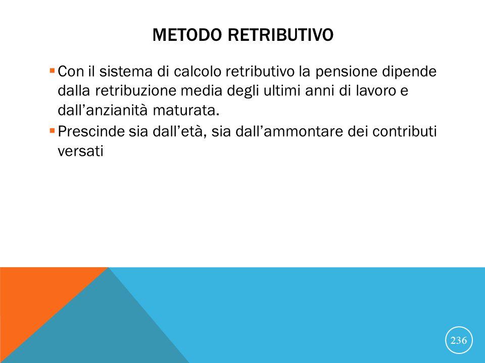 METODO RETRIBUTIVO Con il sistema di calcolo retributivo la pensione dipende dalla retribuzione media degli ultimi anni di lavoro e dallanzianità maturata.
