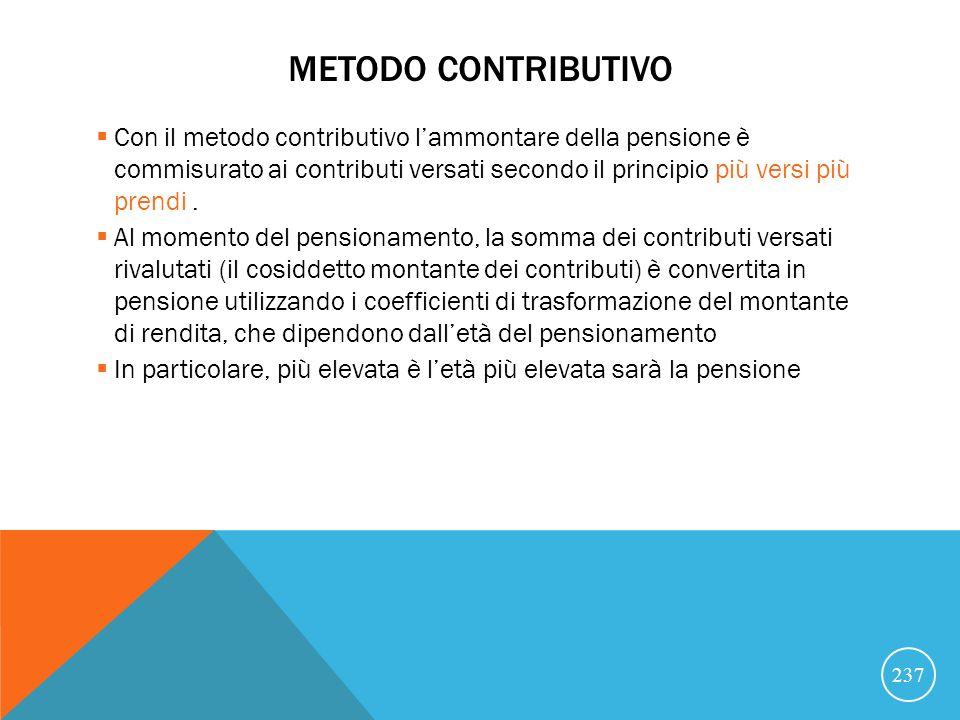 METODO CONTRIBUTIVO Con il metodo contributivo lammontare della pensione è commisurato ai contributi versati secondo il principio più versi più prendi.