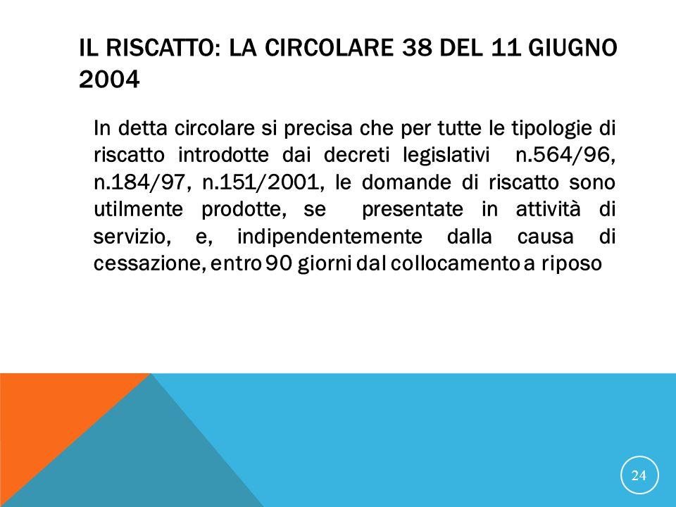 IL RISCATTO: LA CIRCOLARE 38 DEL 11 GIUGNO 2004 In detta circolare si precisa che per tutte le tipologie di riscatto introdotte dai decreti legislativi n.564/96, n.184/97, n.151/2001, le domande di riscatto sono utilmente prodotte, se presentate in attività di servizio, e, indipendentemente dalla causa di cessazione, entro 90 giorni dal collocamento a riposo 24