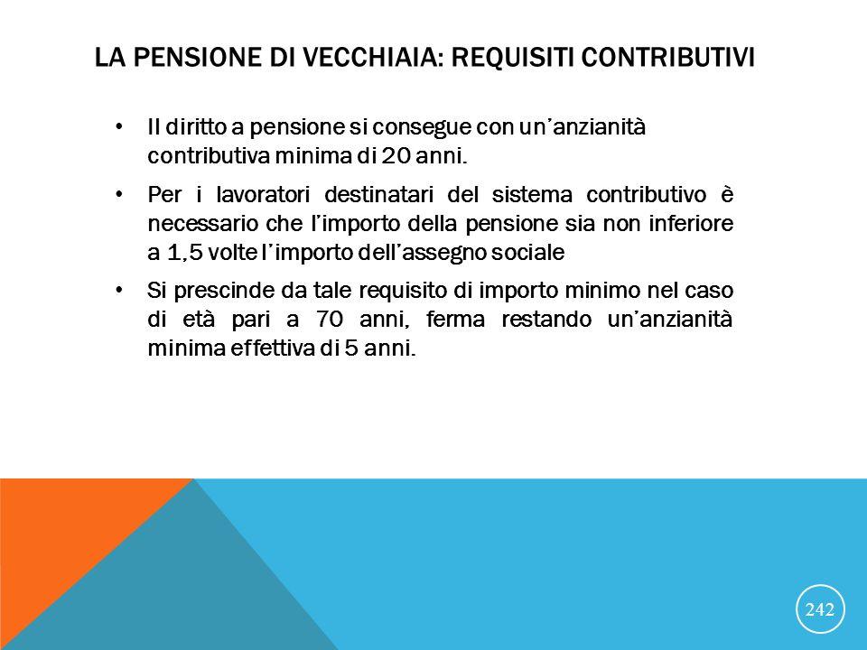 LA PENSIONE DI VECCHIAIA: REQUISITI CONTRIBUTIVI Il diritto a pensione si consegue con unanzianità contributiva minima di 20 anni.