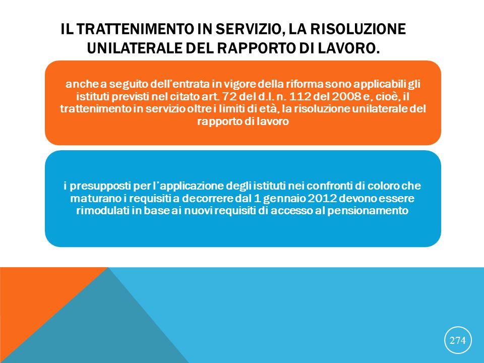 IL TRATTENIMENTO IN SERVIZIO, LA RISOLUZIONE UNILATERALE DEL RAPPORTO DI LAVORO.