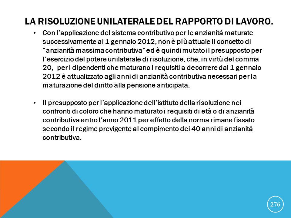 LA RISOLUZIONE UNILATERALE DEL RAPPORTO DI LAVORO.