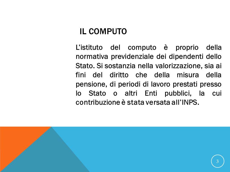 IL COMPUTO Listituto del computo è proprio della normativa previdenziale dei dipendenti dello Stato.