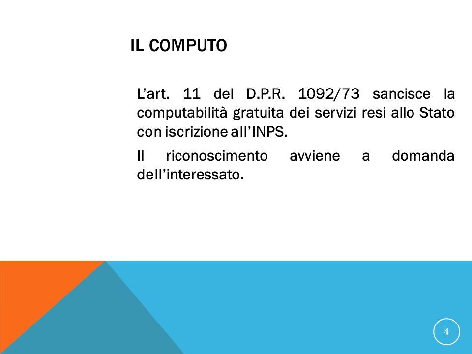 IL COMPUTO Lart.11 del D.P.R.