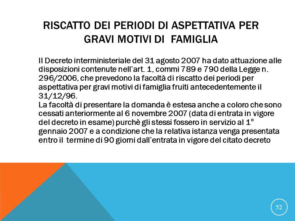 RISCATTO DEI PERIODI DI ASPETTATIVA PER GRAVI MOTIVI DI FAMIGLIA Il Decreto interministeriale del 31 agosto 2007 ha dato attuazione alle disposizioni contenute nellart.