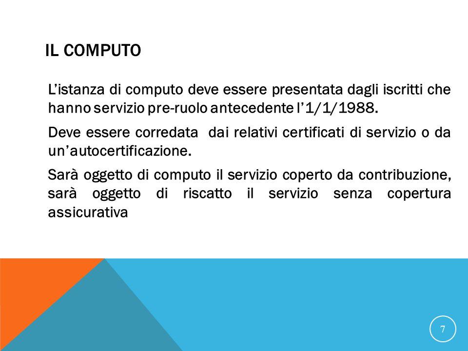 IL COMPUTO Listanza di computo deve essere presentata dagli iscritti che hanno servizio pre-ruolo antecedente l1/1/1988.