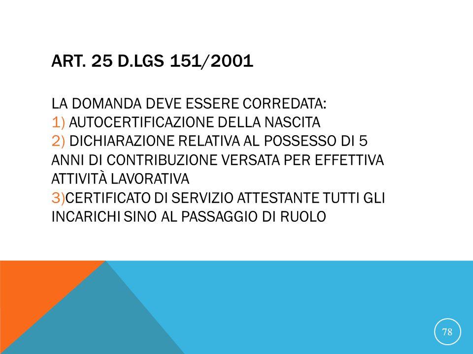 ART. 25 D.LGS 151/2001 LA DOMANDA DEVE ESSERE CORREDATA: 1) AUTOCERTIFICAZIONE DELLA NASCITA 2) DICHIARAZIONE RELATIVA AL POSSESSO DI 5 ANNI DI CONTRI