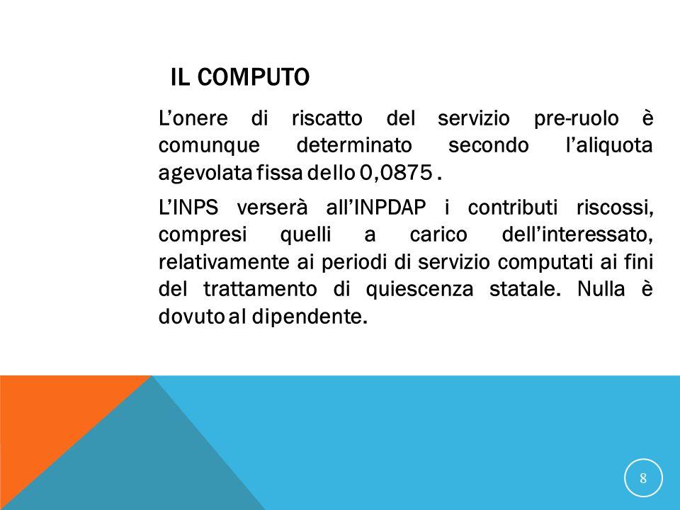 IL COMPUTO Lonere di riscatto del servizio pre-ruolo è comunque determinato secondo laliquota agevolata fissa dello 0,0875.