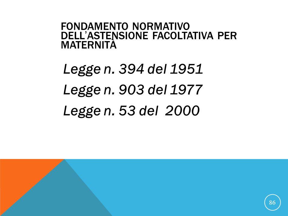 FONDAMENTO NORMATIVO DELLASTENSIONE FACOLTATIVA PER MATERNITÀ Legge n.