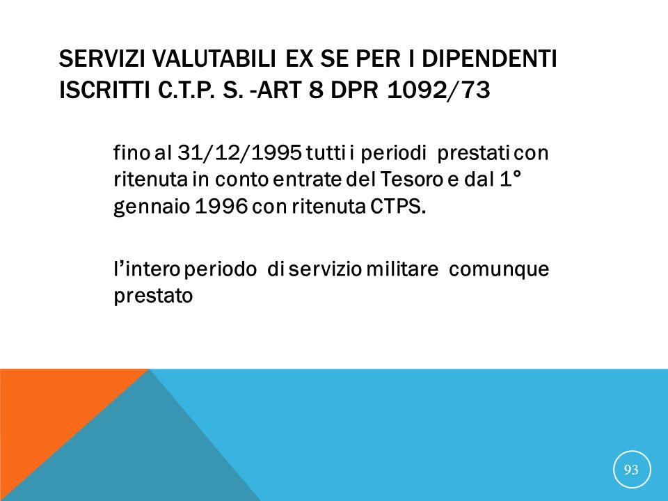 SERVIZI VALUTABILI EX SE PER I DIPENDENTI ISCRITTI C.T.P.