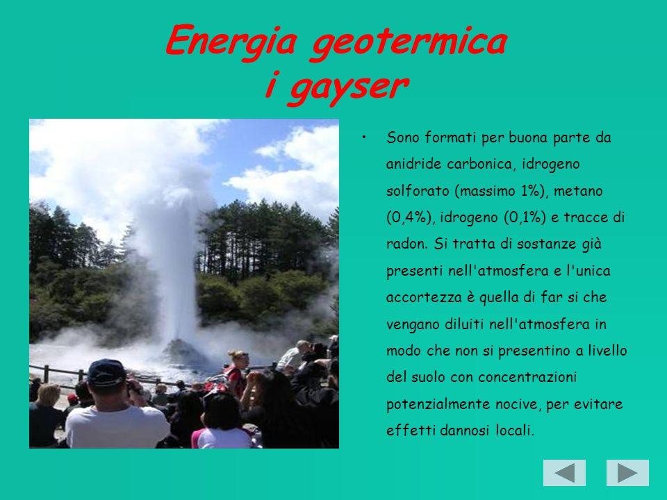 Energia geotermica i gayser Sono formati per buona parte da anidride carbonica, idrogeno solforato (massimo 1%), metano (0,4%), idrogeno (0,1%) e tracce di radon.