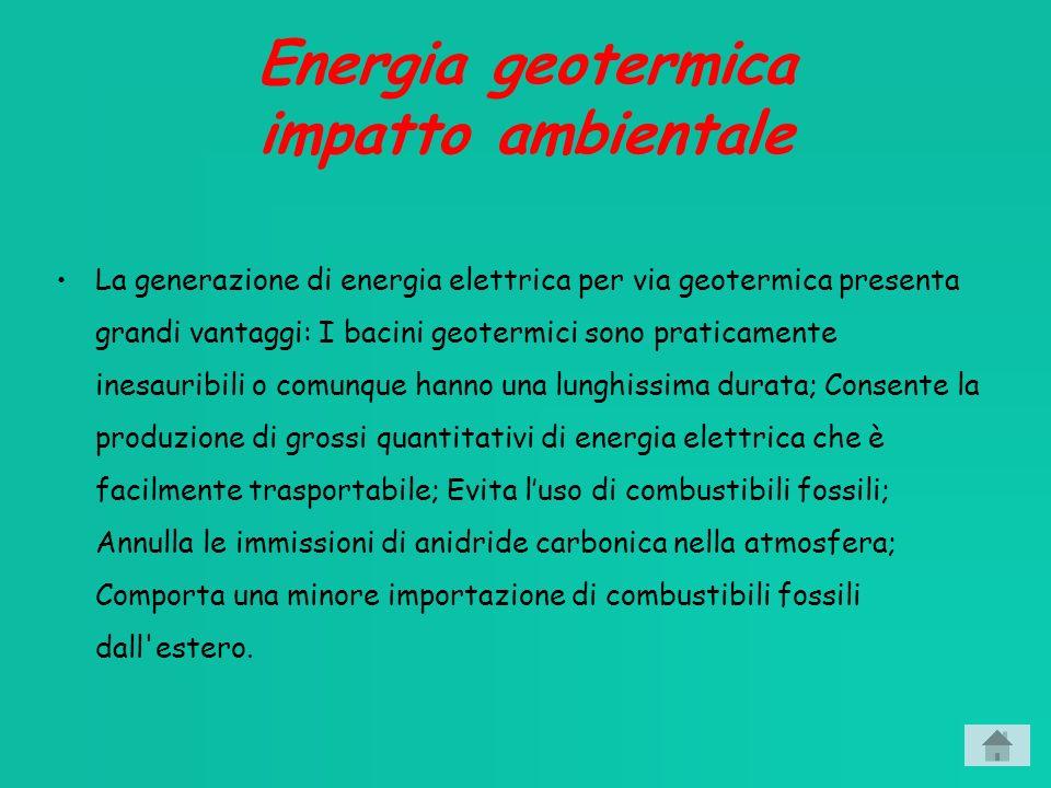 Energia geotermica impatto ambientale La generazione di energia elettrica per via geotermica presenta grandi vantaggi: I bacini geotermici sono praticamente inesauribili o comunque hanno una lunghissima durata; Consente la produzione di grossi quantitativi di energia elettrica che è facilmente trasportabile; Evita luso di combustibili fossili; Annulla le immissioni di anidride carbonica nella atmosfera; Comporta una minore importazione di combustibili fossili dall estero.