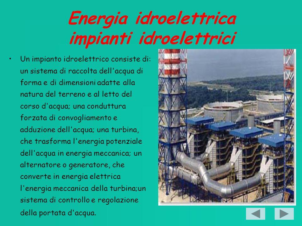 Energia idroelettrica impianti idroelettrici Un impianto idroelettrico consiste di: un sistema di raccolta dell acqua di forma e di dimensioni adatte alla natura del terreno e al letto del corso d acqua; una conduttura forzata di convogliamento e adduzione dell acqua; una turbina, che trasforma l energia potenziale dell acqua in energia meccanica; un alternatore o generatore, che converte in energia elettrica l energia meccanica della turbina;un sistema di controllo e regolazione della portata d acqua.