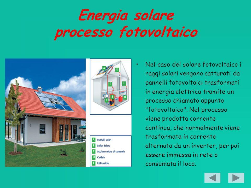 Energia solare processo fotovoltaico Nel caso del solare fotovoltaico i raggi solari vengono catturati da pannelli fotovoltaici trasformati in energia elettrica tramite un processo chiamato appunto fotovoltaico .