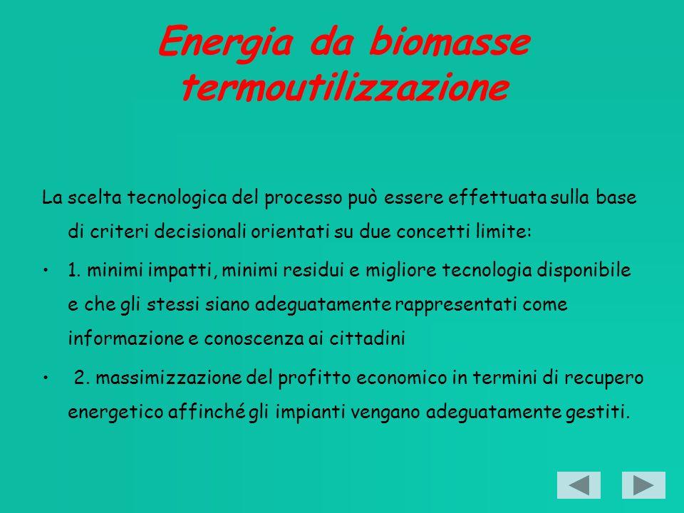 Energia da biomasse termoutilizzazione La scelta tecnologica del processo può essere effettuata sulla base di criteri decisionali orientati su due concetti limite: 1.