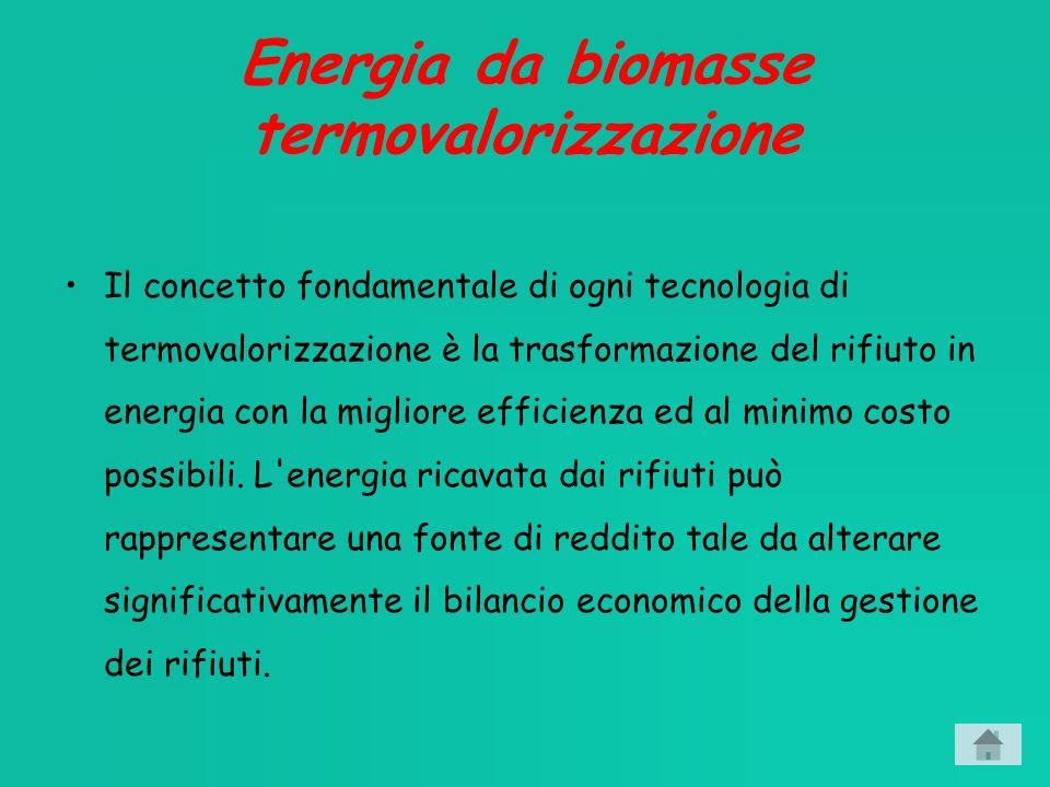 Energia da biomasse termovalorizzazione Il concetto fondamentale di ogni tecnologia di termovalorizzazione è la trasformazione del rifiuto in energia con la migliore efficienza ed al minimo costo possibili.
