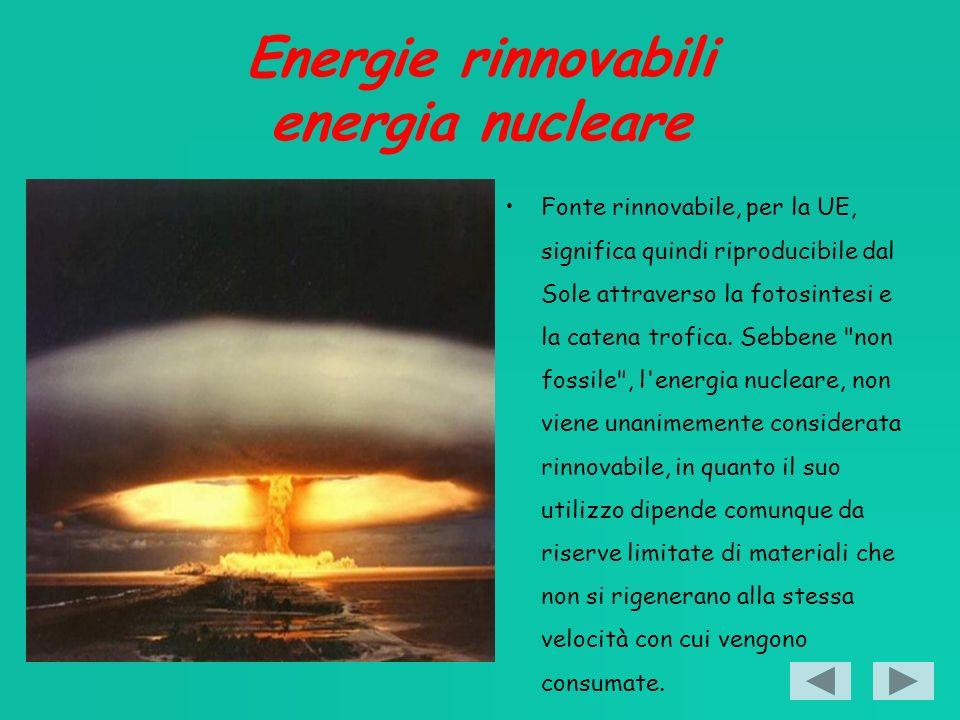 Energie rinnovabili energia nucleare Fonte rinnovabile, per la UE, significa quindi riproducibile dal Sole attraverso la fotosintesi e la catena trofica.
