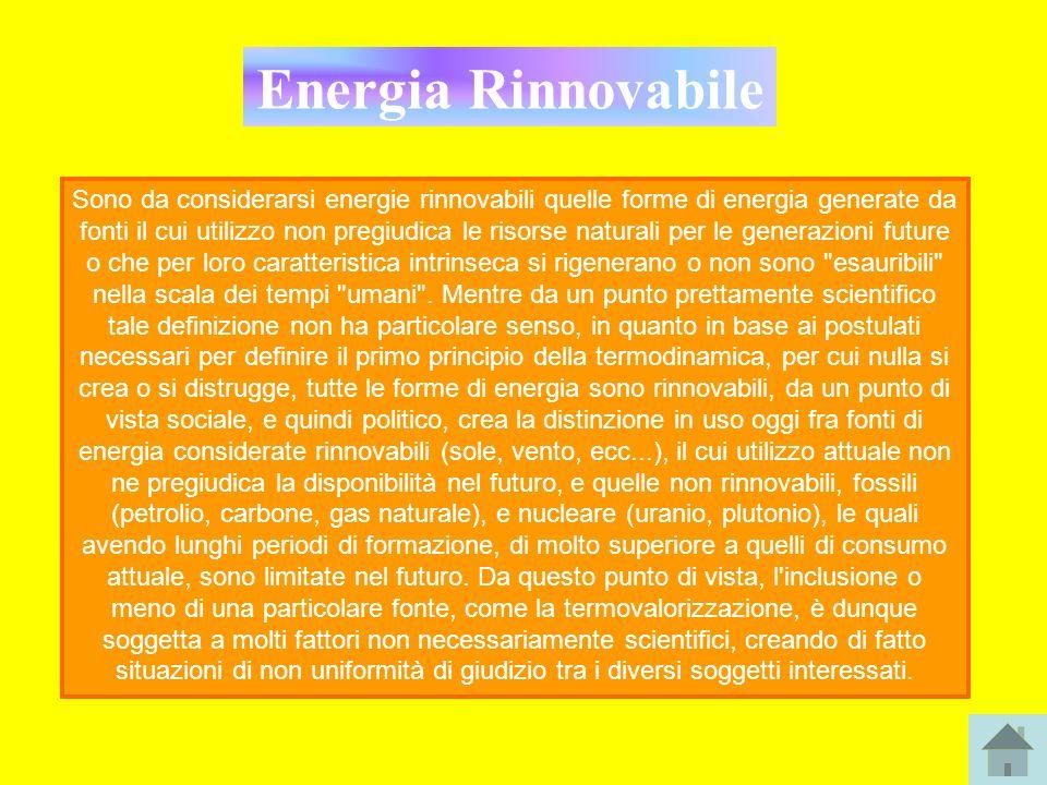 Energia Rinnovabile Sono da considerarsi energie rinnovabili quelle forme di energia generate da fonti il cui utilizzo non pregiudica le risorse natur