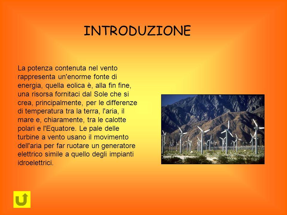 INTRODUZIONE La potenza contenuta nel vento rappresenta un'enorme fonte di energia, quella eolica è, alla fin fine, una risorsa fornitaci dal Sole che