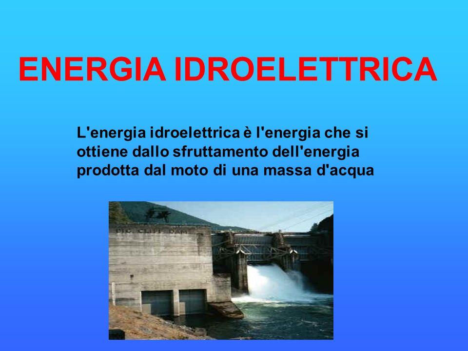 L'energia idroelettrica è l'energia che si ottiene dallo sfruttamento dell'energia prodotta dal moto di una massa d'acqua ENERGIA IDROELETTRICA
