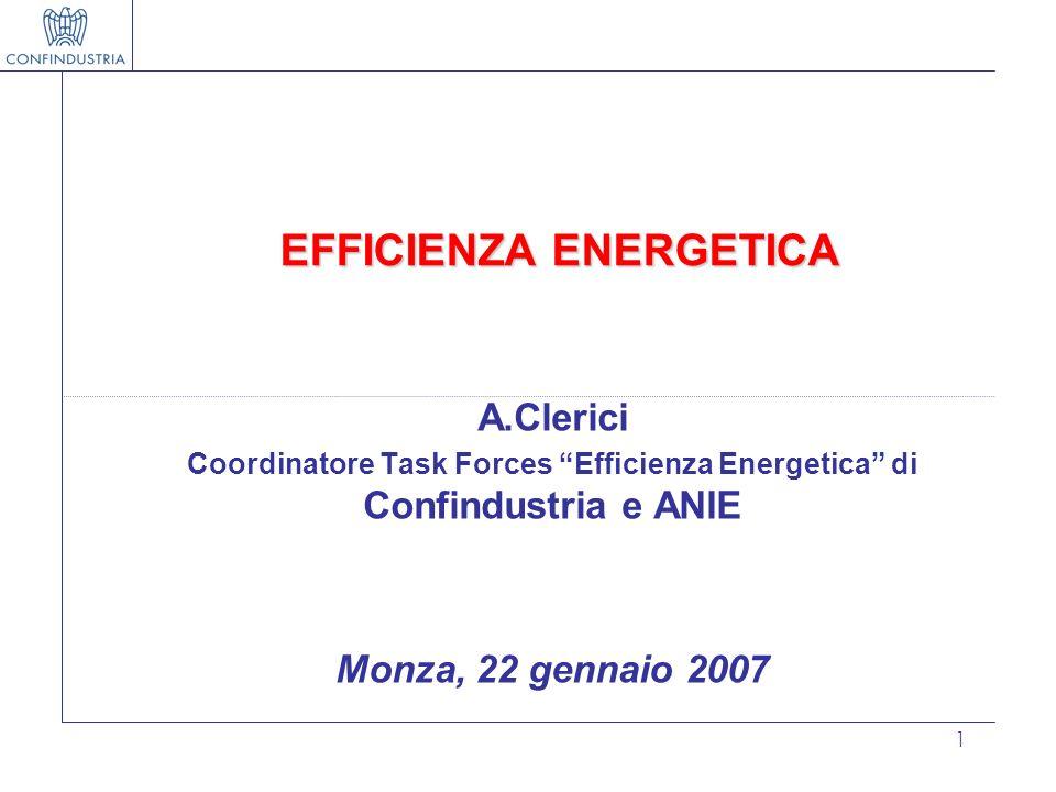 1 EFFICIENZA ENERGETICA A.Clerici Coordinatore Task Forces Efficienza Energetica di Confindustria e ANIE Monza, 22 gennaio 2007