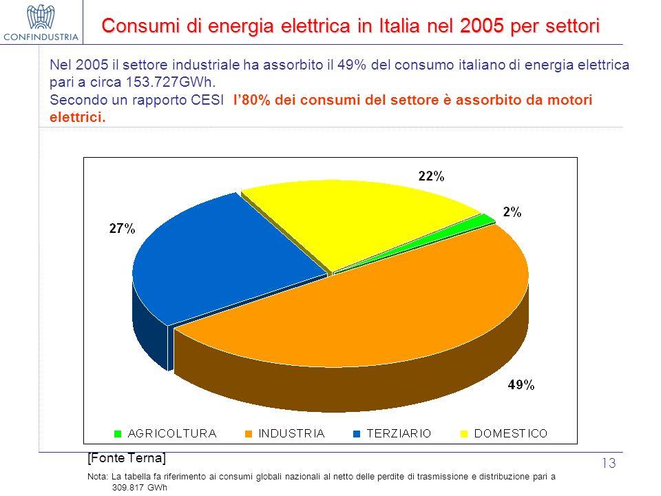 13 Consumi di energia elettrica in Italia nel 2005 per settori Nel 2005 il settore industriale ha assorbito il 49% del consumo italiano di energia ele