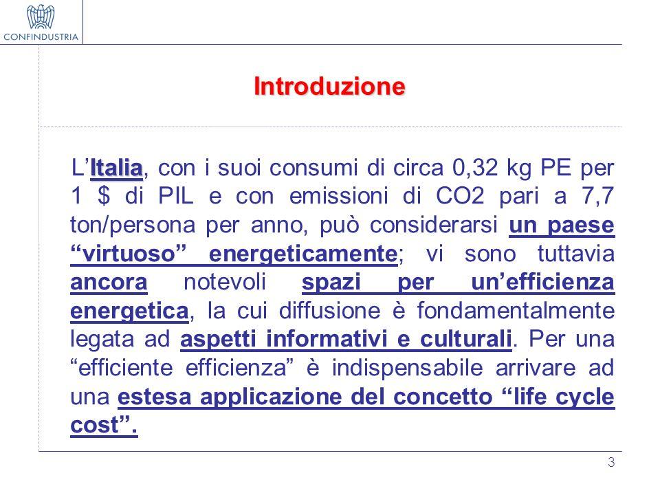 3 Introduzione Italia LItalia, con i suoi consumi di circa 0,32 kg PE per 1 $ di PIL e con emissioni di CO2 pari a 7,7 ton/persona per anno, può consi
