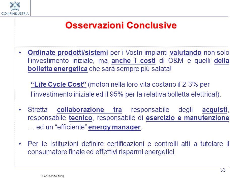 33 Osservazioni Conclusive Ordinate prodotti/sistemi per i Vostri impianti valutando non solo linvestimento iniziale, ma anche i costi di O&M e quelli
