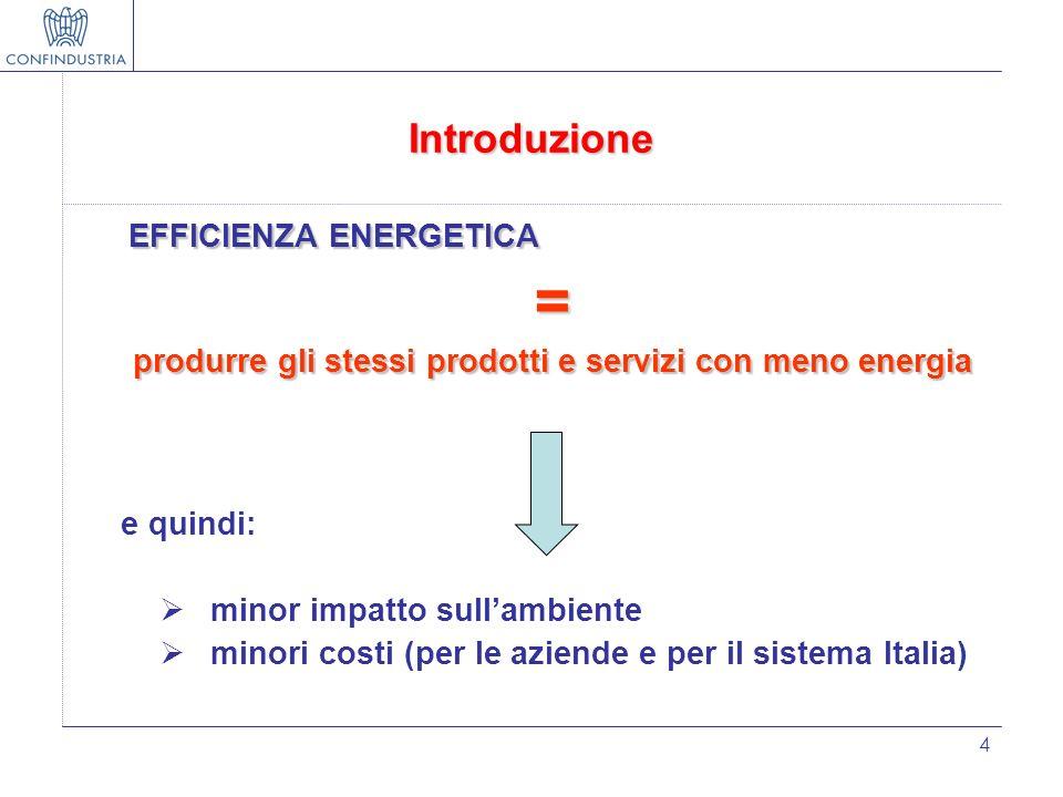 4 Introduzione EFFICIENZA ENERGETICA = produrre gli stessi prodotti e servizi con meno energia e quindi: minor impatto sullambiente minori costi (per
