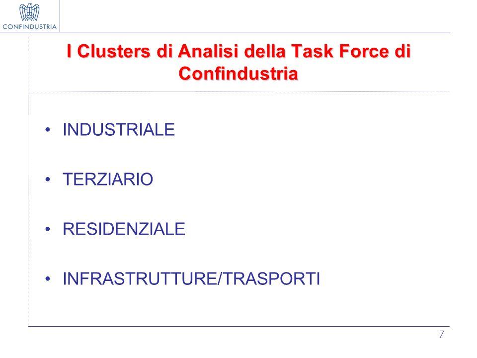 7 I Clusters di Analisi della Task Force di Confindustria INDUSTRIALE TERZIARIO RESIDENZIALE INFRASTRUTTURE/TRASPORTI