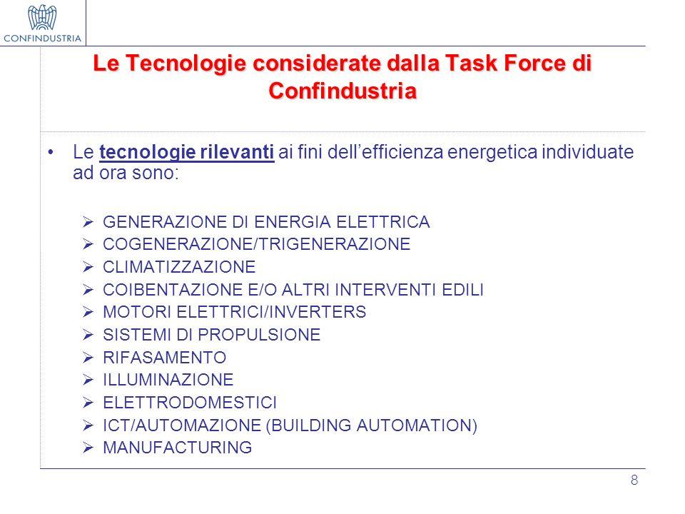 8 Le Tecnologie considerate dalla Task Force di Confindustria Le tecnologie rilevanti ai fini dellefficienza energetica individuate ad ora sono: GENER