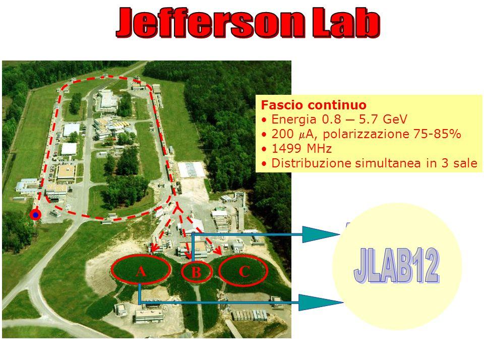A B C Fascio continuo Energia 0.8 5.7 GeV 200 A, polarizzazione 75-85% 1499 MHz Distribuzione simultanea in 3 sale