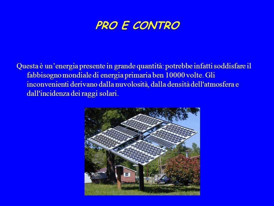 PRO E CONTRO Questa è unenergia presente in grande quantità: potrebbe infatti soddisfare il fabbisogno mondiale di energia primaria ben 10000 volte. G