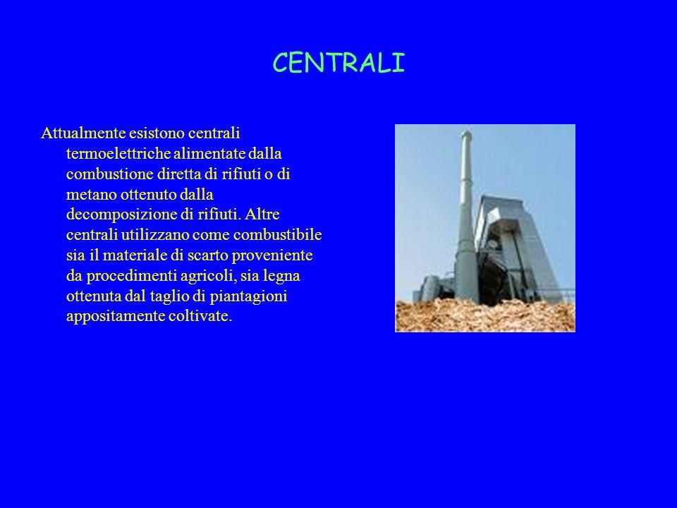 CENTRALI Attualmente esistono centrali termoelettriche alimentate dalla combustione diretta di rifiuti o di metano ottenuto dalla decomposizione di ri