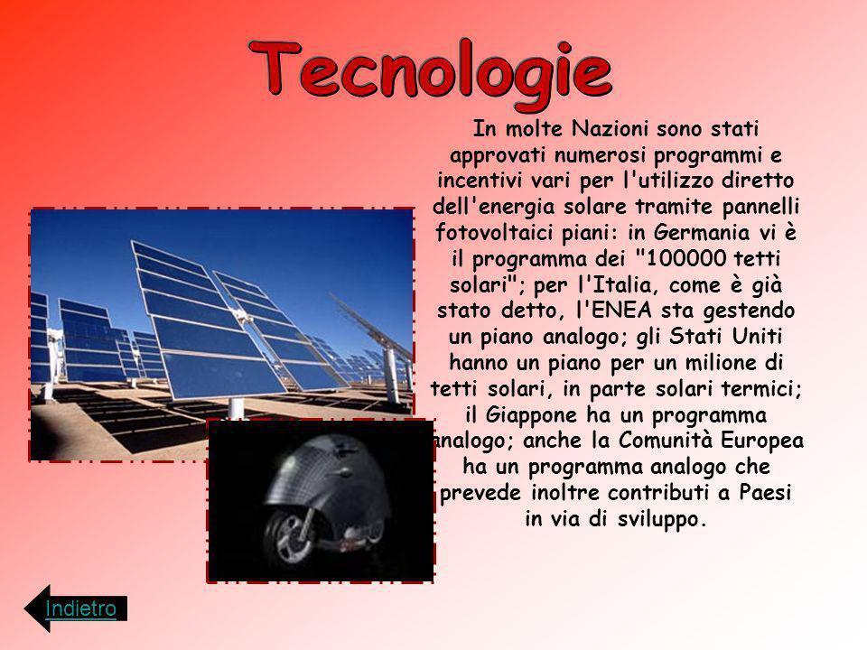 In molte Nazioni sono stati approvati numerosi programmi e incentivi vari per l'utilizzo diretto dell'energia solare tramite pannelli fotovoltaici pia