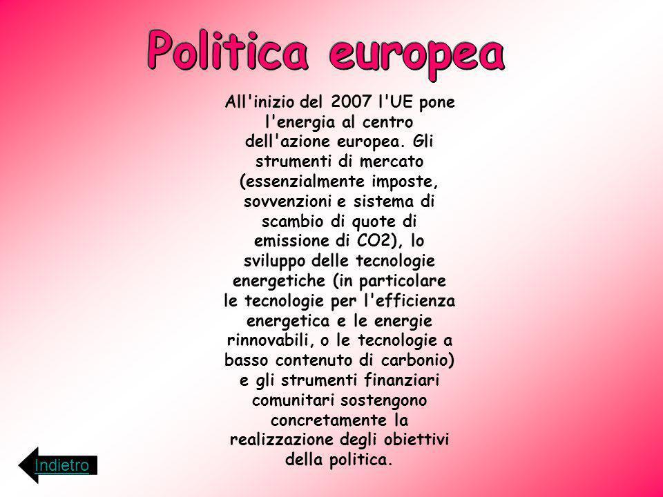 All'inizio del 2007 l'UE pone l'energia al centro dell'azione europea. Gli strumenti di mercato (essenzialmente imposte, sovvenzioni e sistema di scam