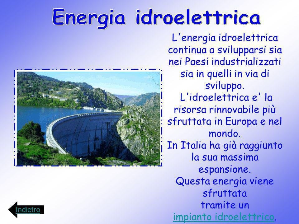 L'energia idroelettrica continua a svilupparsi sia nei Paesi industrializzati sia in quelli in via di sviluppo. L'idroelettrica e' la risorsa rinnovab