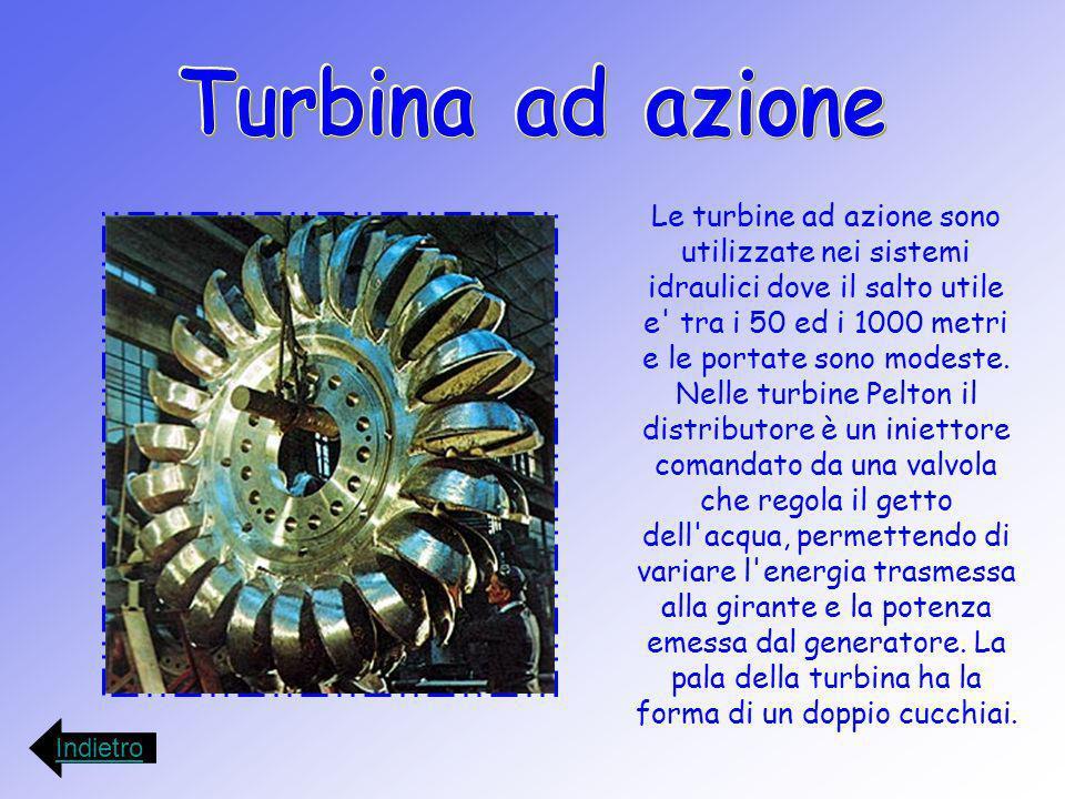 Le turbine ad azione sono utilizzate nei sistemi idraulici dove il salto utile e' tra i 50 ed i 1000 metri e le portate sono modeste. Nelle turbine Pe