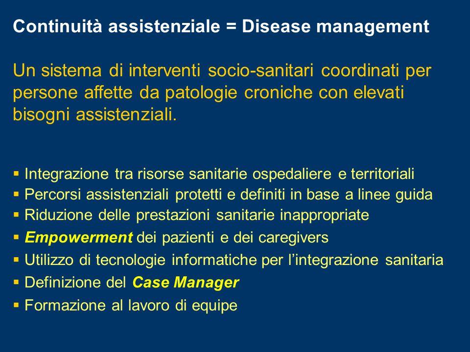Continuità assistenziale = Disease management Un sistema di interventi socio-sanitari coordinati per persone affette da patologie croniche con elevati bisogni assistenziali.